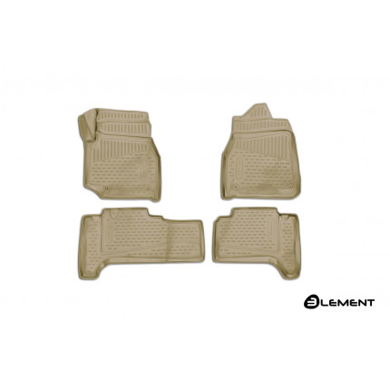 Коврики 3D в салон TOYOTA Land Cuiser (J100), 1998-2007, П.Р. 4WD, дизель, АКПП, 4 шт. (полиуретан, бежевые)